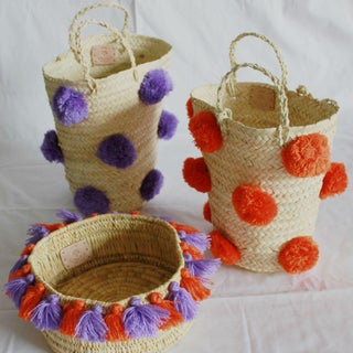 Moroccan Orange Pompom Basket Preview