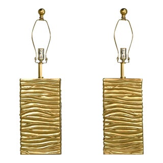 Contemporary Ribbon Wrapped Effect & Acrylic Table Lamps - a Pair For Sale