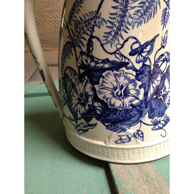 Antique Blue Transfer Ware Curved Pitcher For Sale - Image 5 of 9