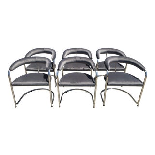 1970s Vintage Chrome and Velvet Dining Chairs- Set of 6 For Sale