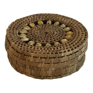 20th Century Boho Chic Round Straw Shell Box For Sale