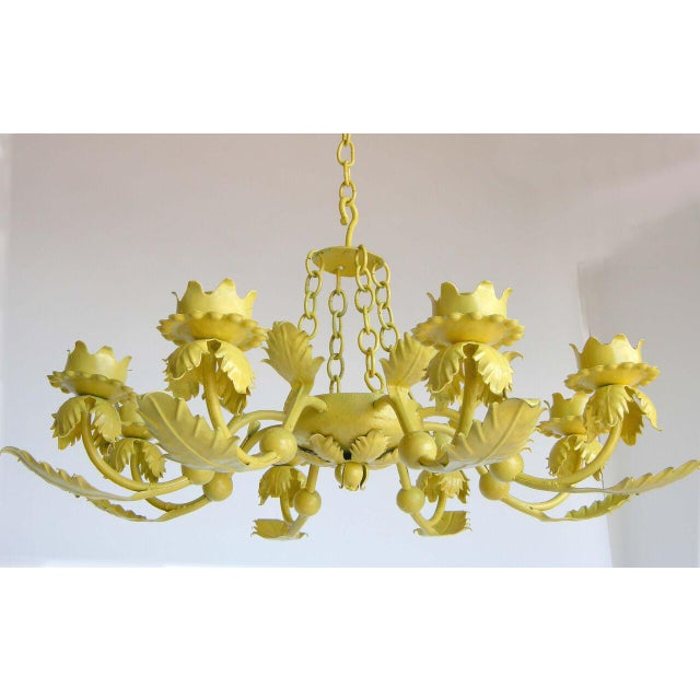 Primitive Painted Yellow Hand Wrought iron Leaf Chandelier For Sale - Image 3 of 7