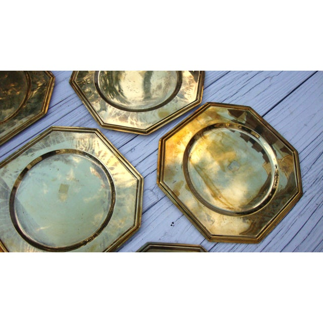 Vintage Solid Brass Hexagon Charger Plates - 6 - Image 7 of 7