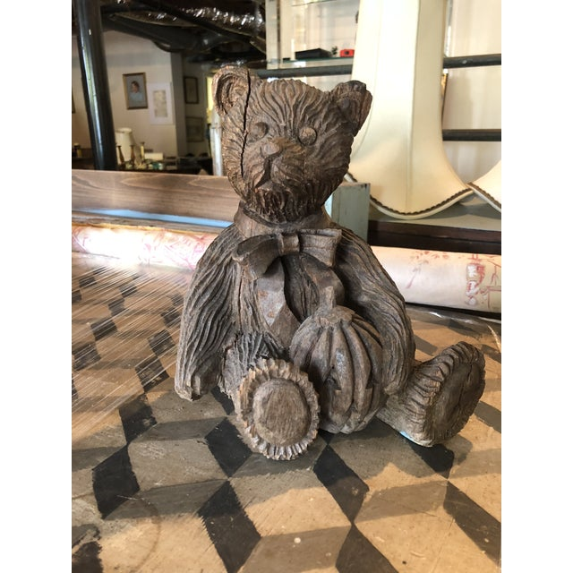 1980s Wooden Carved Teddy Bear For Sale - Image 5 of 6