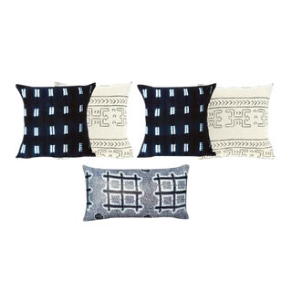 Mud Cloth and African Print Pillow Covers- Set of 5