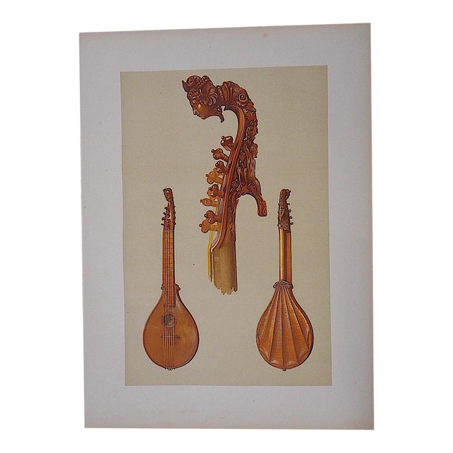Antique Lithograph of Musical Instruments, Cetera For Sale