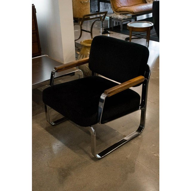 Midcentury Chrome and Mohair Loveseat, Chair and Table Set, 1960s For Sale - Image 4 of 11