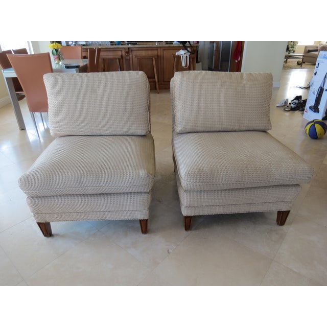Vintage Mid-Century Twill Accent Chairs - A Pair - Image 2 of 11