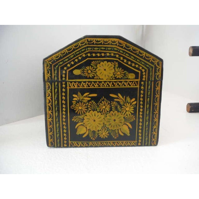 Pine Antique Ebonized Hand-Painted Mexican Wedding Trunk For Sale - Image 7 of 9