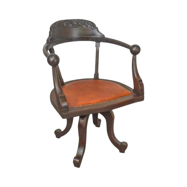 Victorian Antique Mahogany Swivel Desk Chair For Sale