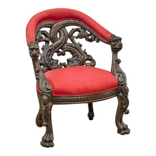 Antique Carved Venetian Arm Chair W Dolphin Motif