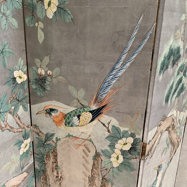 Chinoiserie Eight Panel Folding Screen, Silver Leaf With Birds, Peonies and Cherry Blossoms - a Pair For Sale In New York - Image 6 of 13