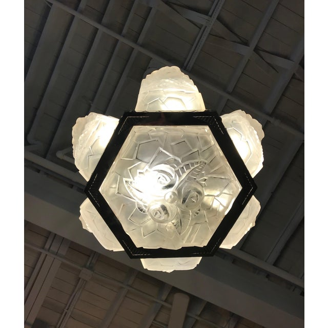 French Art Deco Chandelier Signed by Degué For Sale - Image 10 of 12