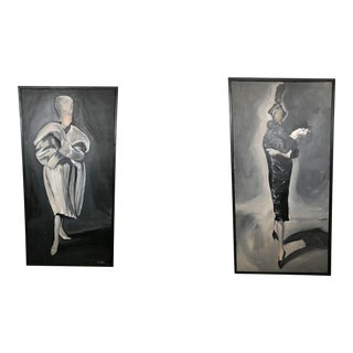 """""""Fashion Lady"""" Paintings - A Pair"""
