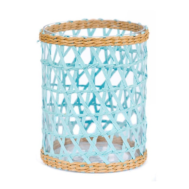 Boho Chic Light Blue Island Wrapped Hurricanes - Set of 3 For Sale - Image 3 of 6