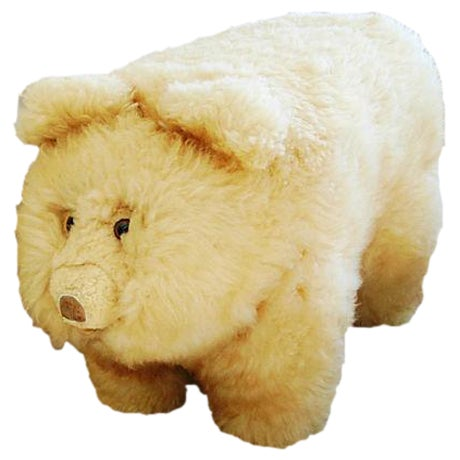 Vintage Lambswool Bear Ottoman - Image 1 of 8