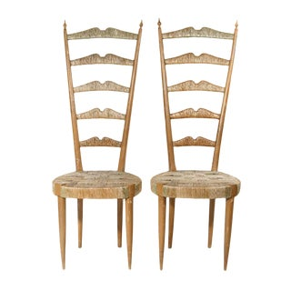 Elegant High Back Chairs - a Pair For Sale