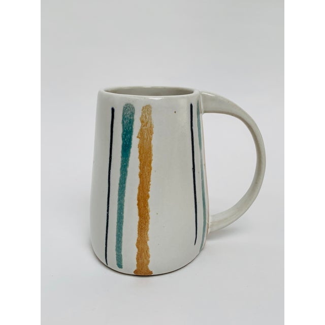 1960s Mid Century Modern Striped Oval Stoneware Mug From Bennington Potters For Sale - Image 11 of 13