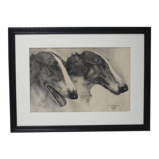 Vintage Leon Mazurowski Borzoi Dogs Graphite and Charcoal Drawing on Paper For Sale