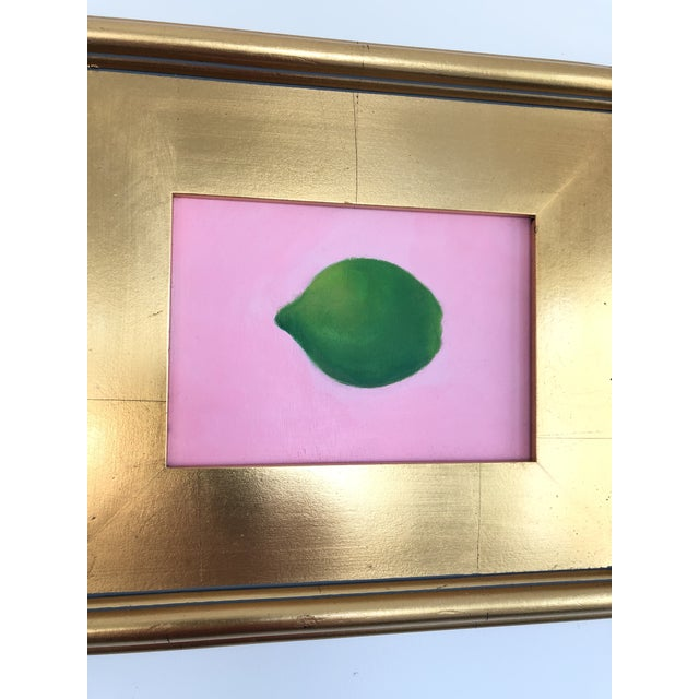 """Acrylic painting of a lime on a pink background in gold gilded frame. signed by artist and ready to hang. Painting 7"""" x 5""""..."""