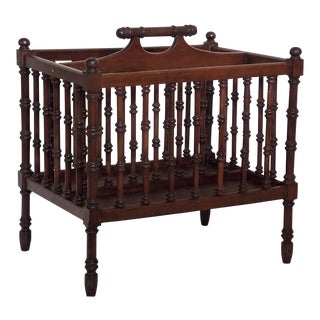 1950s Spindled Mahogany Magazine Rack For Sale