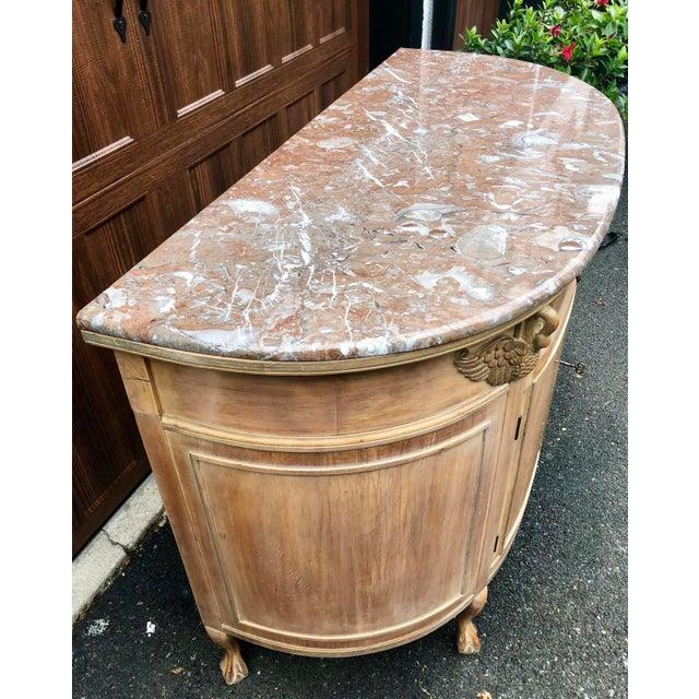 Brown 1940s Gustavian Limed Oak Marble Top Sideboard For Sale - Image 8 of 13