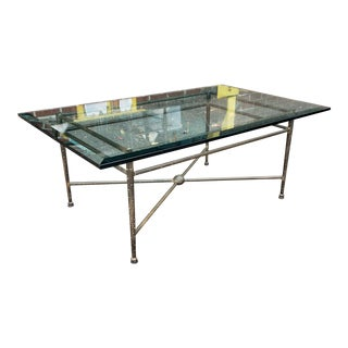 Fine Stippled Wrought Iron With Beveled Glass Top Kreiss Designs Coffee Table C1990s For Sale