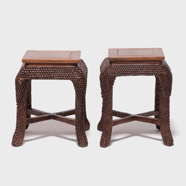 Brown Early 20th Century Dragon Scale Tea Table and Stools For Sale - Image 8 of 11