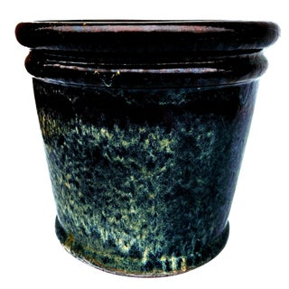 Navy Blue and Teal Drip Glazed Terracotta Clay Outdoor Planter For Sale