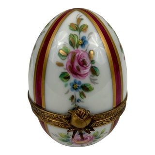 Limoges Hand-Painted Egg Box For Sale
