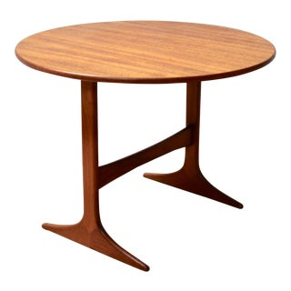 1950s Swedish Modern Round Teak Tilt-Top Table by Engstrom Mystrand for Tingstroms For Sale