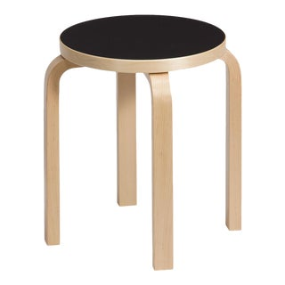 Authentic Stool E60 in Lacquered Birch with Linoleum Seat by Alvar Aalto & Artek For Sale