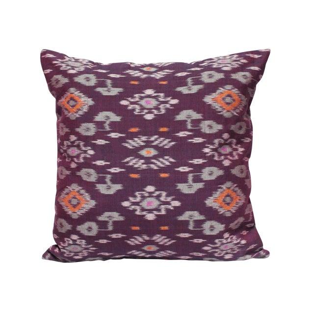 Karma Purple Balinese Handwoven Ikat Pillow - Image 1 of 5