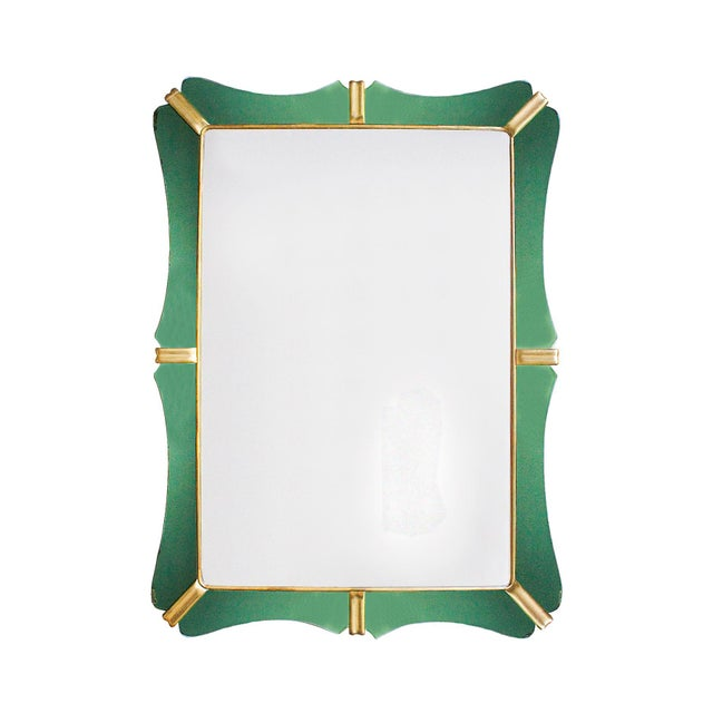 Green 1950´s Large Mirror, Green Mirrors Frame and Golden Leaf Wood - Italy For Sale - Image 8 of 8