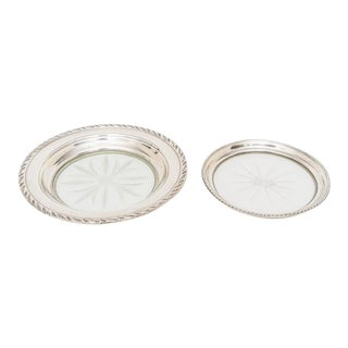 Art Deco 1930s Bottle Coasters Sterling Silver and Crystal - Set of 2 For Sale