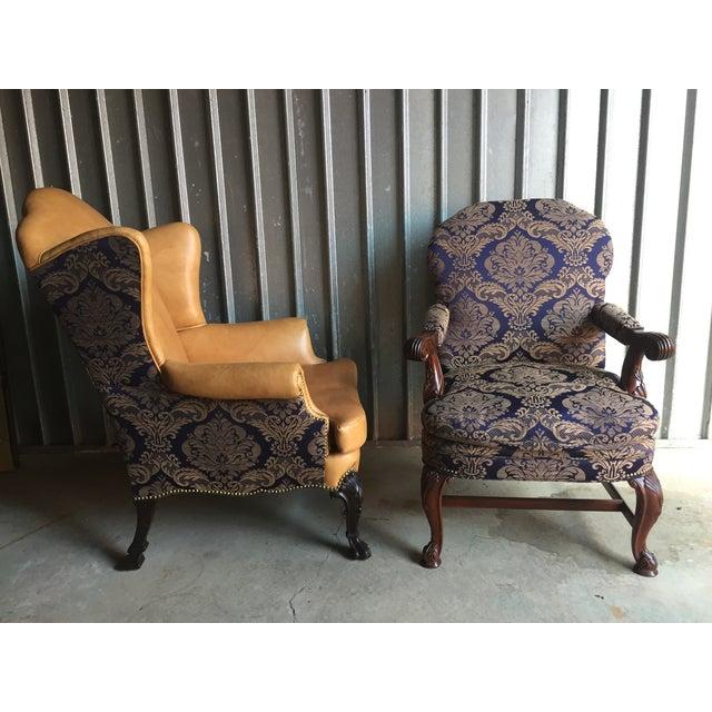 Mahogany Library & Wing Chair - Pair - Image 7 of 11