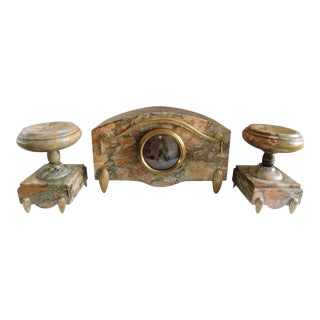 1930 Antique Art Deco Marble Mantle Clock Garniture Set- 3 Pieces For Sale
