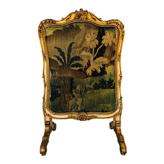 Early 19th Century Aubusson Gilt Wood Fire Screen For Sale