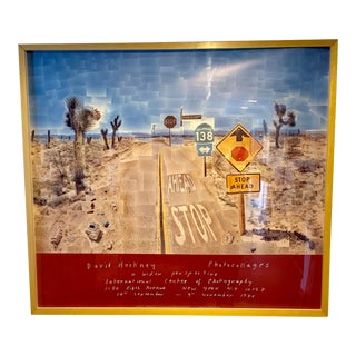 """1986 David Hockney """"Pearl Blossom Hwy"""" Original Exhibition Poster Lithograph For Sale"""