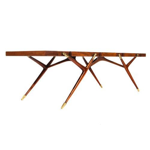 Singer & Sons BURL WALNUT AND BRASS 1950S COFFEE TABLE BY ICO PARISI FOR SINGER AND SONS For Sale - Image 4 of 8