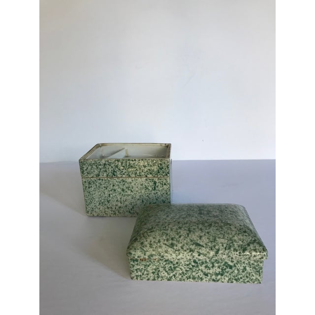 Ceramic Antique Stacking Green Speckled Porcelain Container For Sale - Image 7 of 8