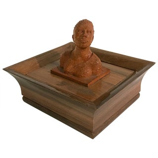 Mid-Century Hand-Carved Wooden Box with Bust Preview