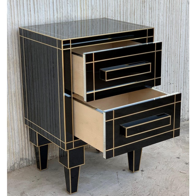 Black New Pair of Mirrored Nightstands in Black Mirror With Two Drawers For Sale - Image 8 of 13