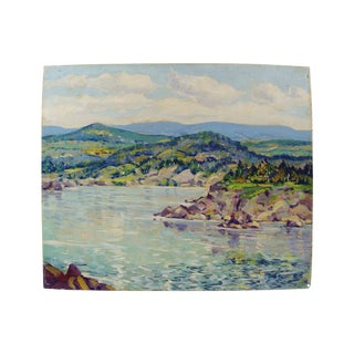 Simone Michael Vintage Lakeside Landscape Painting For Sale