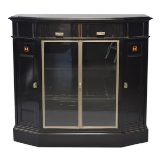Ebonised Art Deco Cabinet With Aluminum Trim and Glass Fronted Doors For Sale