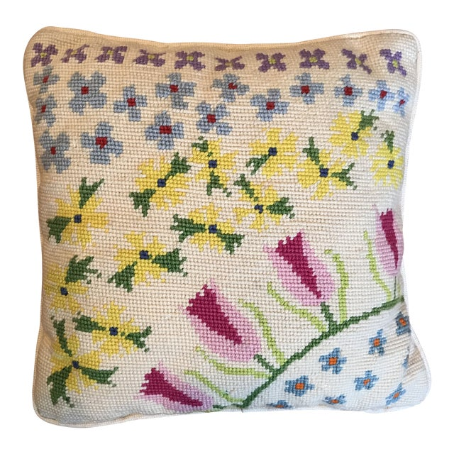 Vintage Boho Chic Needlepoint Pillow For Sale