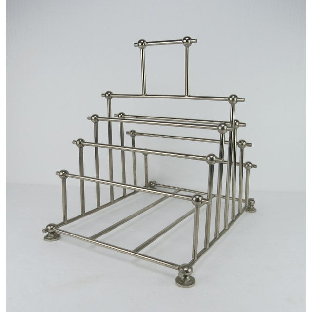 Mid-Century Modern 1970s Art Deco Inspired Architectural Chrome Magazine Holder/Rack For Sale - Image 3 of 10