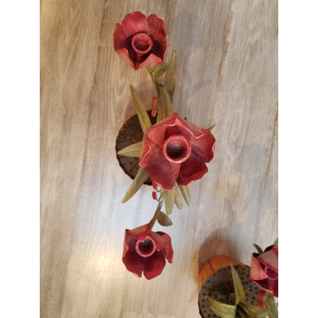 Tole Pink Flower 3 Arm Candleholders - A Pair - Image 6 of 6
