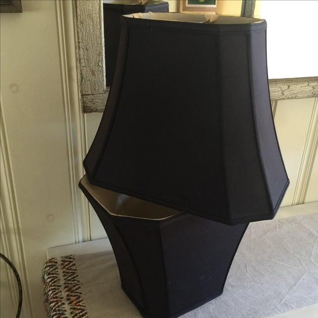 Mid-Century Black Silk Lamp Shades - A Pair - Image 11 of 11
