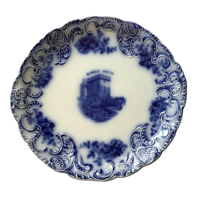 Flow Blue Tribley Semi-Porcelian Blarney Castle Plate For Sale
